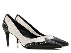 Gucci black/white leather brogues heeled pumps shoes - Italian Boutique €417