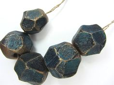 Royal Blue Gold Metal Effect Faceted Chunky Clay Beads No.189