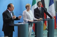 Foreign ministers of France and Germany are said to have drawn up a blueprint for a 'European superstate' as leaders Francois Hollande (left) and Angela Merkel (centre) met with Italian Prime Minister Matteo Renzi (right) tonight for crisis talks after the Brexit vote