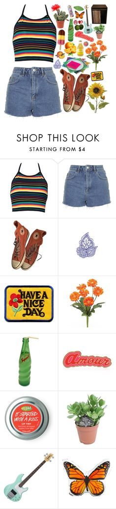"""Lookin for some good luck"" by taryn-ash ❤ liked on Polyvore featuring Topshop, Converse, Maria Francesca Pepe, Dot & Bo and 89"