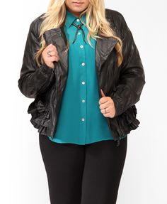 Ruffled Faux Leather Jacket | FOREVER21 PLUS - 2019571653