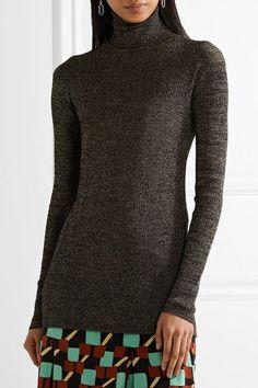 Prada - Metallic Ribbed-knit Turtleneck Sweater - Gold