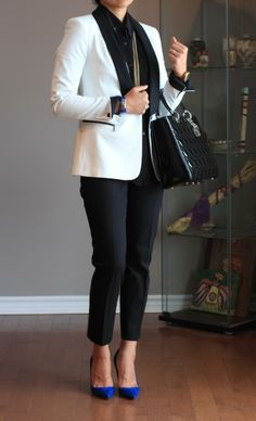 le smoking - a tuxedo blazer and cobalt blue suede pumps