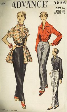 Classic slacks and blouses - Advance 5636. #vintage #1950s #sewing_patterns