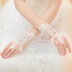 Wedding Gloves Bridal Gloves Short Gloves Beaded Gloves