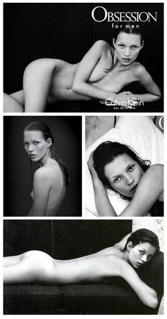 Kate  Moss by Mario Sorrenti for Calvin Klein Obsession 1993.