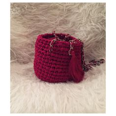 UNA bag - red Silver or Gold handles Slow Fashion, Bucket Bag, Unique, Silver, Red, Handmade, Bags, Purses, Hand Made