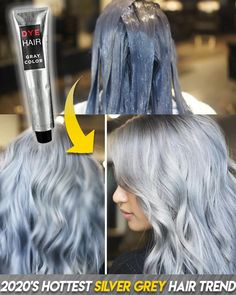 ✨👩🦳 Silver is chic, edgy and super on trend✨💁♀️The perfect look for every age!💃💃Say Goodbye To Boring Color👋 Silver Grey Hair Dye, Silver Blonde, Grey Hair Transformation, Gray Hair Highlights, Permanent Hair Dye, Hair Color And Cut, Silky Hair, Textured Hair, Hair Looks