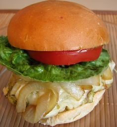 For the Love of Cooking » Pesto Chicken Sandwich with Caramelized Onions and Havarti