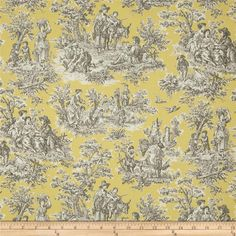 Waverly Rustic Life Toile Lemondrop from @fabricdotcom  Screen printed on (approx. 6.5 ounce) cotton duck, this versatile, medium weight fabric is perfect for window accents (draperies, valances, curtains and swags), accent pillows, bed skirts, duvet covers, slipcovers, upholstery and other home decor accents. Create handbags, tote bags, aprons and more. Colors include grey and white on yellow.