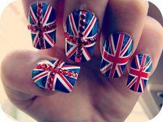 Union Jack nails - a nod to the hubby Uk Nails, Love Nails, How To Do Nails, Pretty Nails, Hair And Nails, Sexy Nails, Nail Polish Designs, Cute Nail Designs, Nails Design