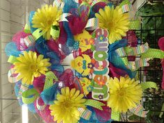 Welcome Spring Deco Mesh Wreath Designed by Christian Rebollo 2013 Spring Collection