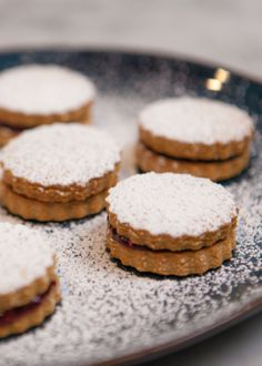 Linzer Sables | These delicious Linzer cookies are an Austrian specialty. They came from the city of Linz. The powdered sugar reminds me of snow. They're great for the holiday cookie swap party. @pannacooking