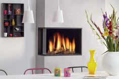 Find out all of the information about the DRU product: gas fireplace / contemporary / closed hearth / corner GLOBAL 60 CORNER BF. Living Room Modern, Home Living Room, Living Spaces, Contemporary Gas Fireplace, Stone Interior, Gas Fires, Hearth, Corner, Gas Fireplaces