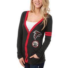 Womens Atlanta Falcons Black/Red Holey Long Sleeve T-Shirt and Tank Top
