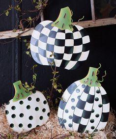 Loving this Cream Checkerboard Pumpkin Plant Pick Set on #zulily! #zulilyfinds