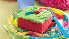 Sour candy cake. Brighten someone's day with a colorful and delicious cake. Soft drink mix, gummi candies and cake mix give it the wow.