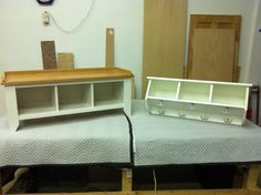 Entryway Bench and Shelf Solid Wood Handmade by KennedyWoodworking