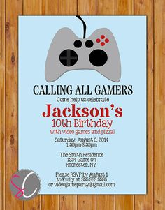 Video Game Birthday Party Invite Boy Teen Birthday Party Game Controller Control Invitation 10th 13th 5x7 Digital JPG File (301)