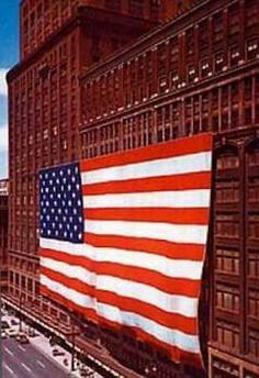 Hudson's - Downtown Detroit.  This flag was the largest ever made & was donated to the Smithsonian in 1976.