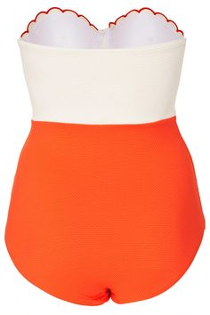 Tomato and Cream Scallop Swimsuit - Swimsuits - Swimwear - Clothing - Topshop USA