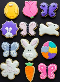 Sugar cookies decorated for Easter and spring using royal icing. Royal icing Easter sugar cookies.