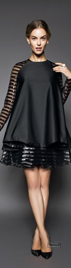 John Paul Ataker Spring-summer 2015.  mix on transparent and shiny materials. High fashion. Little Black dress