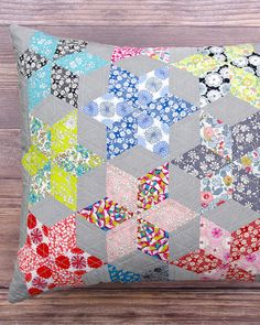 Liberty Stars Pillow Cover - An English Paper Piecing Project from Quilting on the Go by Sharon Burgess | © Red Pepper Quilts 2017