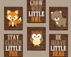 ★WOODLAND Nursery Wall Art, Woodland Decor, Birch Wood, Forest Animals, Carter Forest Friends, Owl Fox Bear, Canvas or Prints Set of 6 Quotes  ★Includes 6 pieces of wall art ★Available in PRINTS or CANVAS (see below)  ★SIZING OPTIONS Available from the drop down menu above the add to cart button with prices. >>>  ★PRINT OPTION Available sizes are 5x7, 8x10, & 11x14 (inches). Prints are created digitally and printed with UltraChrome Hi-Gloss ink on professional 68lb satin luster p...