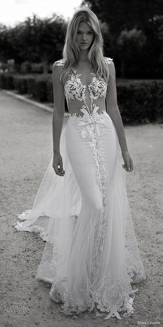 Idan Cohen Bridal 2017 #cap sleeve #deep vneck #lace sheath #wedding dress #violette #stunning #sexy #beautiful #inspiration
