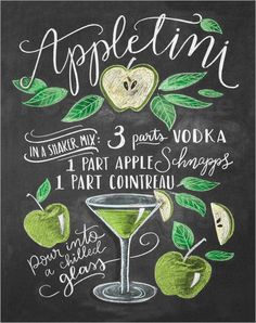 artboxONE Poster Typography Appletini cm design art print by Lily & Val Cocktail Drinks, Fun Drinks, Yummy Drinks, Alcoholic Drinks, Beverages, Party Drinks, Aperol, Mojito, Cocktail Recipes