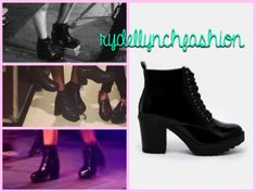 River Island IDA Patent Lace Up Ankle Boots -- Worn throughout tour ; September 2014 (( follow rydellynchfashion on Tumblr! :) ))