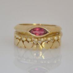 Pink Gemstone Ring Set  Gold Set Rings 14k by malkaravinajewelry