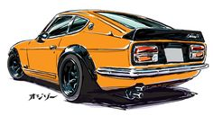 24 Ideas For Cars Illustration Drawing Nissan, Japanese Sports Cars, Honda Civic Ex, Datsun 240z, Car Illustration, Japan Cars, Toyota Cars, Car Posters, Car Drawings