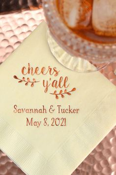 Wedding Napkins for Drinks and Appetizers - Cocktail napkins personalized with a wedding design, the newlyweds' names and wedding date will add a fun element to your wedding reception cocktail hour. #wedding #weddingnapkins
