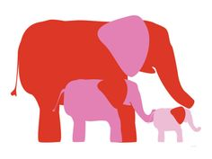 Pink Elephants Print by Avalisa at Art.com
