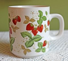 Porcelain Mug. Mug with Hand Pinted Wild Strawberries.  Beautiful Mug  Made in Japan. Collector Mug Signed by Artist. by AnythingDiscovered on Etsy