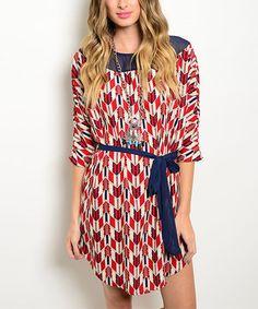 Love this Red & Navy Chevron Tie-Waist Dress on #zulily! #zulilyfinds