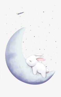 Sleeping on the moon rabbit, Moon, Rabbit, Mid-autumn Festival PNG Image Animal Drawings, Cute Drawings, Rabbit Clipart, Rabbit Wallpaper, Illustration Inspiration, Rabbit Illustration, Baby Posters, Baby Drawing, Bunny Art
