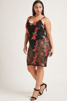 Forever 21+ - A semi-sheer midi dress featuring an allover floral eyelash lace design, ornate floral appliques throughout, a V-neckline, adjustable cami straps, and a form-fitting silhouette.<p>- This is an independent brand and not a Forever 21 branded item.</p>