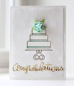 Virtual Smooches: Elegant Embossed Wedding Card