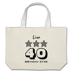 40th Birthday or ANY AGE Striped Stars Custom Name Canvas Bag   To see more customizable striped Jaclinart gift items:   http://www.zazzle.com/jaclinart+striped+gifts?st=date_created&ps=120  #stripes #striped #pattern #jaclinart #design #create