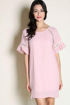 Crochet Insert Detail Shift Dress (Pink)  $38