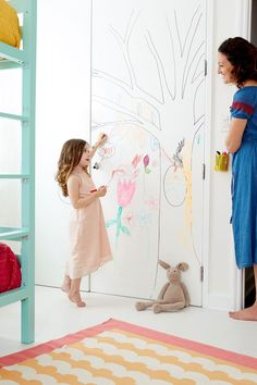 Use sherwin williams dry erase coating to make a creative space in your kids room!