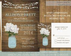 Rustic Mason Jar Wedding Invitation with Hydrangreas - Rustic Wedding Invitations Blue Mason Jar & Hydrangeas | Choose Color Printable Files par NotedOccasions sur Etsy https://www.etsy.com/fr/listing/178341468/rustic-mason-jar-wedding-invitation-with