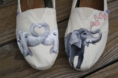 Elephant Love Original Custom Acrylic Painting for Toms/Canvas Shoes TOMS NOT INCLUDED on Etsy, $80.00