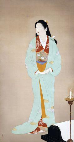 Uemura Shōen from wikipedia: Uemura Shōen was the pseudonym of an important woman artist in Meiji, Taishō and early Shōwa period Japanese painting. Her real name was Uemura Tsune Geisha, Japan Illustration, Art Japonais, Japanese Painting, Japanese Prints, Japan Art, Japanese Culture, Woodblock Print, Ikebana