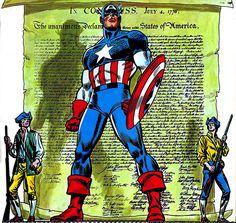 Captain America by John Romita Sr from Marvel Calender 1976 by giantsizegeek, via Flickr