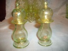 Unusual Vintage Yellow Gold Gilted Vaseline Uranium Glass Salt & Pepper Shakers