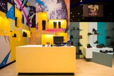 Steve Madden | Shoes store | The Mall | Athens | iidsk | Interior Design & Construction Interior Design And Construction, Steve Madden Store, Madden Shoes, Athens, Mall, Retail, Graphics, Color, Clothing